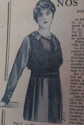 1910s vintage WW1 French antique blouson top sewing pattern