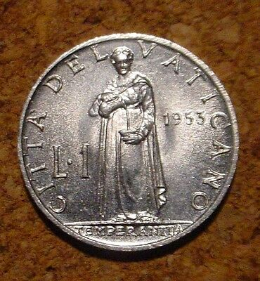 Low Mintage Hi Grade 1953 1 Lira Vatican City** Superb Detailed Coin**