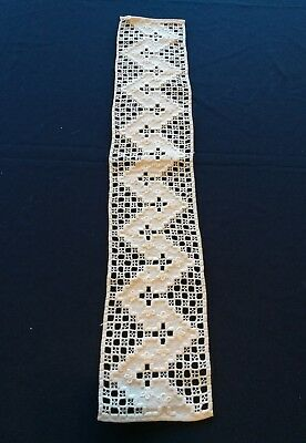 """Ivory HARDANGER Embroidery  Thin Runner 4.5"""" by 24"""""""