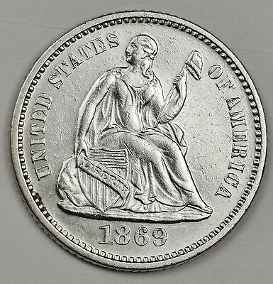 1869 Seated Liberty Half Dime.  A.U.  104407