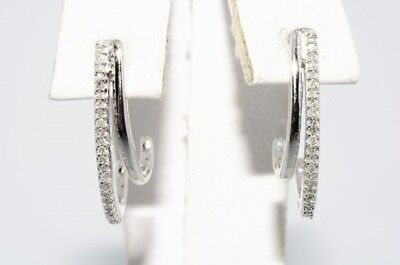 $1,100 .30Ct Natural Round Cut Diamond Double Half-Hoop Cluster Earrings 10K