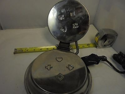 Vintage Chrome Pizzelle Iron Cookies Bridge Card Symbols Spade Club Made in USA