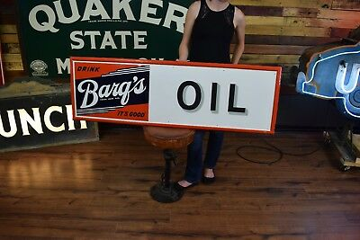 Barqs Root Beer Sign 50's 60's OIL added rececently Great Gas Station Display
