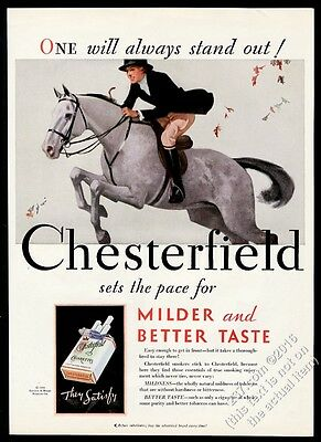 1931 equestrian woman on grey leaping horse Chesterfield vintage print ad