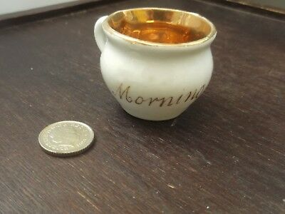 Miniature Gold Coloured  And White Cup  Morning Exercise On Side  No Maker