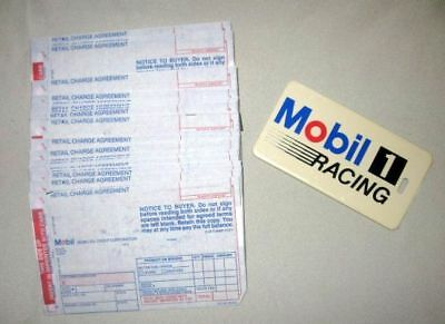56 1983 MOBIL OIL Credit Card Charge Slips unused and Luggage Tag Mobil 1 Racing