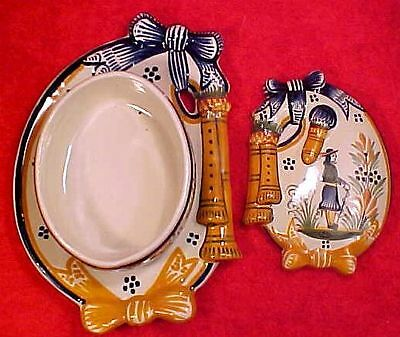French Henriot Quimper Covered Bag Pipe Cheese or Butter Dish, ff254