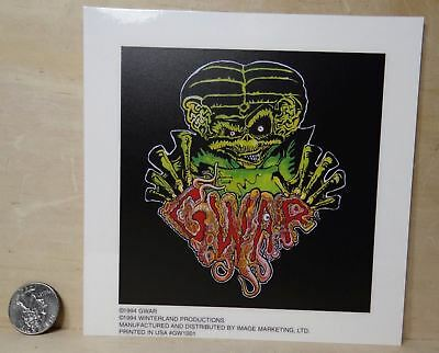 "GWAR VINYL STICKER PEEL AND STICK 6""x 6"" VINTAGE"