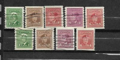 pk31285:Stamps-Canada Lot of 9 King George VI War Coils - Used