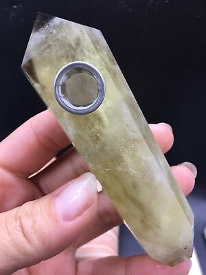 1pcs natural Topaz, quartz crystal smoking pipe as gift
