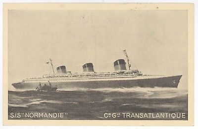 1935 SS NORMANDIE PC Postcard CARTAGENA COLOMBIA CGT Ocean Liner SHIP USA Mass