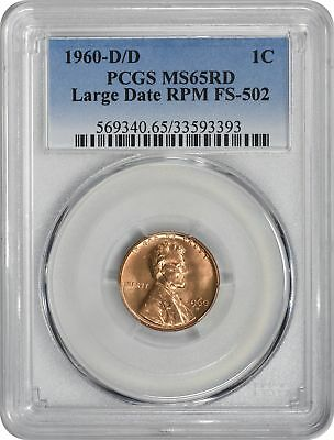 1960-D/D Lincoln Cent MS65RD PCGS FS-502 Large Date RPM CherryPicker Variety