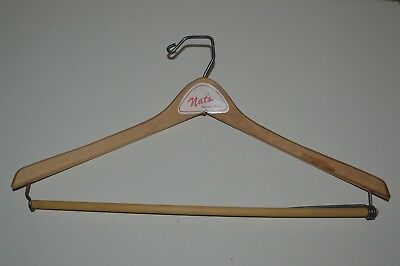 Vintage 1950s NAT'S Auburn California CA Wooden High End Clothes Hanger Rare