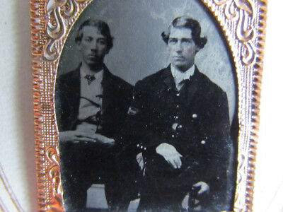 Civil War Hospital Steward in uniform & friend gem tintype photograph