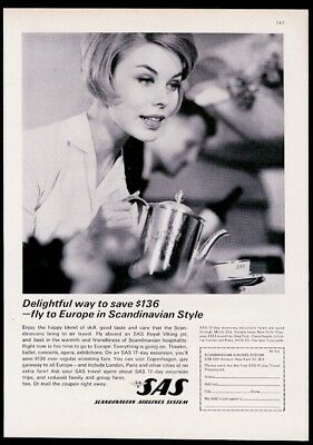 1962 SAS Scandinavian Airlines smiling stewardess photo vintage print ad