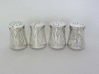 4 Vintage Taxco Mexico Sterling Silver Salt Pepper Shakers Beto Engraved Design
