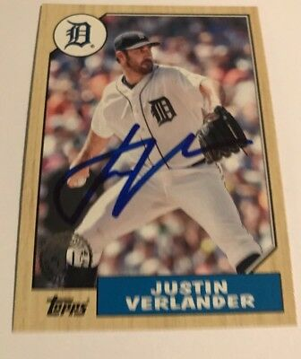 2017 Topps Justin Verlander Signed IP Auto, Detroit Tigers Autograph Astros 1987