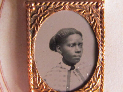 Civil War period gem tintype of an African American woman