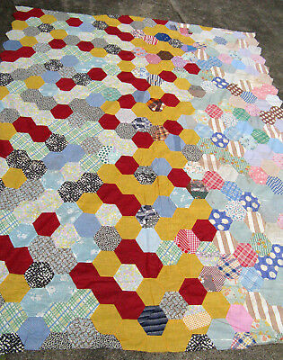 "Vintage GEOMETRIC  QUILT TOP Hand Pieced & Hand Stitched   64"" x 86"""