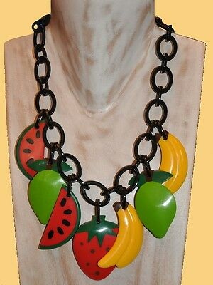 Fab Chunky Multi Color Resin Charm Necklace With  Fruit Charms