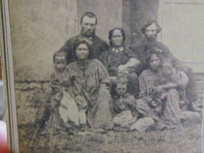 1860's group of native Hawaiian family & others cdv photograph