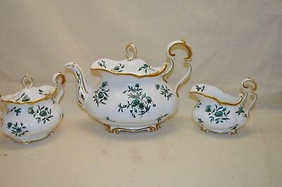Royal Albert Greensleeves Teapot Cream & Sugar Set Gold Trim