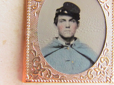 hand colored Civil War soldier tintype photograph