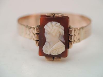 Antique Victorian 10K Rose Gold Hard Stone Cameo Ring Sz 6 1/2. $9.99