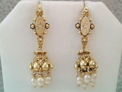 Antique Lg Etruscan 14K Solid Gold Diamond Pearl Drop Earrings Stunning