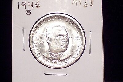 1946-S Booker T. Washington Commerative Half Dollar - Choice Unc