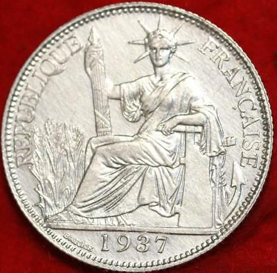 Uncirculated 1937 French Indo China 20 Cent Silver Foreign Coin Free S/H
