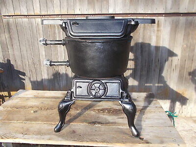 Antique Cast Iron Wood Stove LAKESIDE FOUNDRY MOGUL w/ Water Lines Laundry Stove