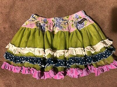 Matilda Jane Tulle Skirt - Size 2 Green / Floral /Blue / Purple - Very Good Cond