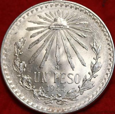 Uncirculated 1944 Mexico Peso Silver Foreign Coin Free S/H