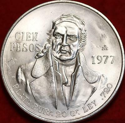 Uncirculated 1977 Mexico 100 Pesos Silver Foreign Coin Free S/H