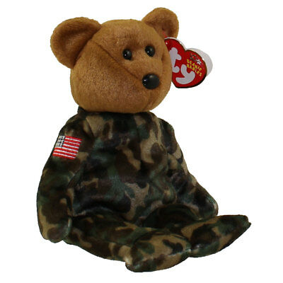 TY Beanie Baby - HERO the USO Military Bear (w/ US Flag on Arm) (8.5 inch) MWMTs