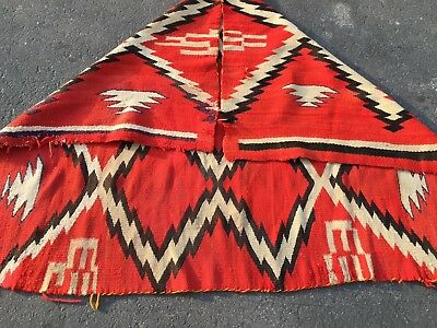 Auth:   Antique Navajo Rug or Blanket   GRAPHIC RED BOLD   wool Beauty  5x4   NR