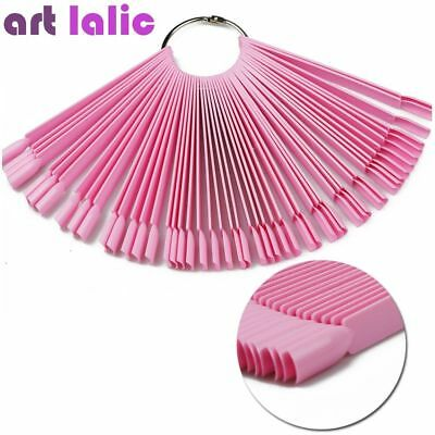 50pc Nail Art Fan Polish Display Board Tips False Round Hoop Stick Practice Tool