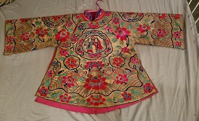 Spectacular Antique Chinese Embroidered Silk Kosu Kesi Robe Gold Thread no reser