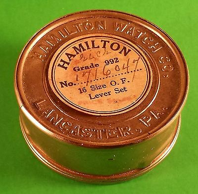 Hamilton Watch Co. Movement Transport Tin For 16 Size S/N 1716047 Ca. 1919