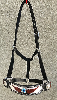 Leather  Buckstitched Bronc Style Halter w/ith Floral Painted Design