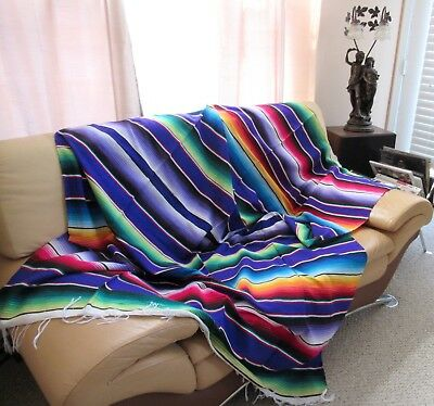 """Mexican Sarape Serape Saltillo Blanket Huge,  X-Large 84"""" X 60"""";  Made In Mexico"""