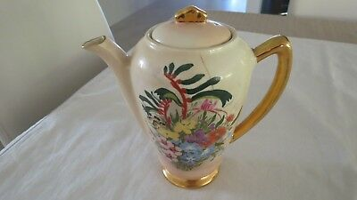 Hand Painted Gold Handle Wildflowers Wembley Ware Teapot Lid Australia Pottery