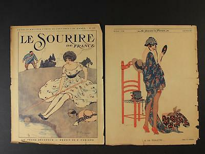LOT of TWO 1918 FRENCH WOMEN'S MAGAZINES (COVERS ONLY) (9 1/2 x 12)