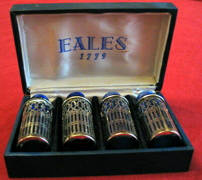 Eales 1779 Boxed Set of 4 Blue Bottles with Silverplate Holders