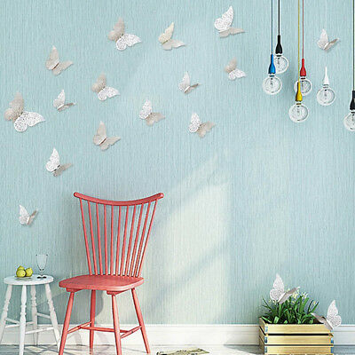 12pcs/set 3D Hollow Metal Texture Butterfly Room Wall Stickers TV Wall Stickers