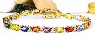 12.74Ctw Natural Sapphire And Diamond Bracelet  In 14K Solid Yellow Gold