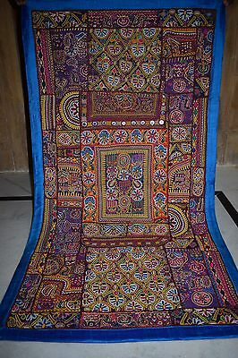 Beautiful Cotton Wall Hanging Patchwork Indian Zari Art Tapestry Hanging