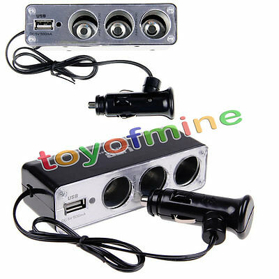 3 Way Multi Socket DC 12V/24V Car Cigarette Lighter Splitter USB Plug Charger
