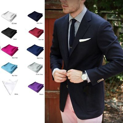 Men's Satin Solid Plain Colorful Handkerchief Hanky Pocket Square Wedding Party